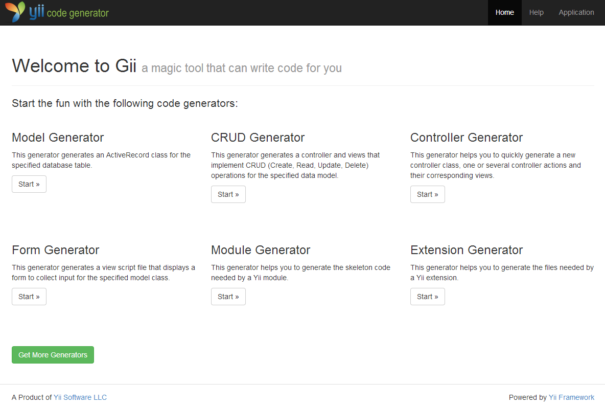 Tool gii - Yii2 Framework